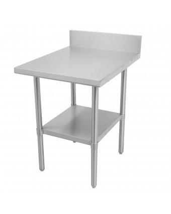 """Table de travail et dosseret en acier inoxydable avec tablette 72"""" x 30"""""""