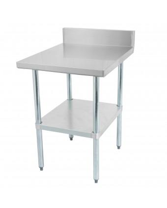 """Table de travail avec dosseret en acier inoxydable avec tablette et pattes en acier galvanisé 72"""" x 30"""""""
