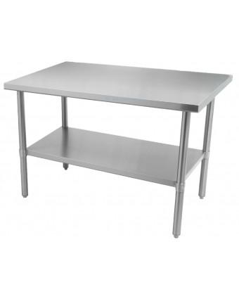 """Table de travail en acier inoxydable avec tablette 72"""" x 30"""""""