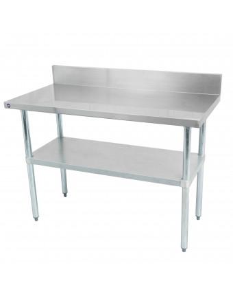 """Table de travail et dosseret en acier inoxydable avec tablette 48"""" x 30"""""""