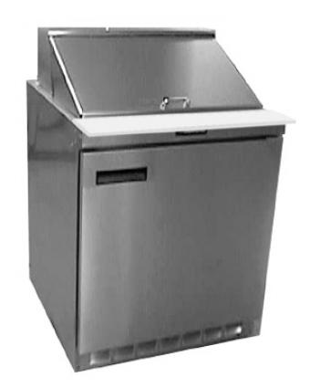 """Table de préparation réfrigérée une porte pleine 32"""" - 12 récipients"""