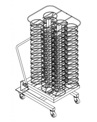 Chariot à assiettes pour armoire de maintien au chaud