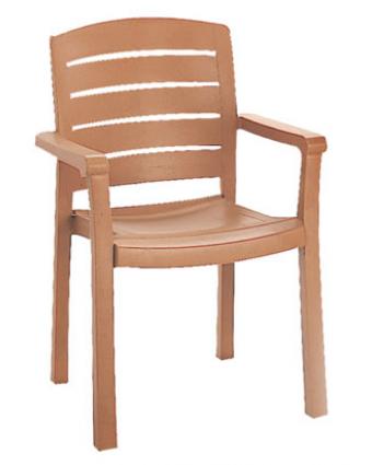 Chaise en résine avec appuis-bras Acadia - Teck