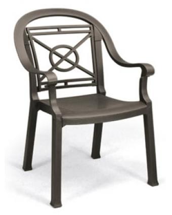 Chaise en résine avec appuis-bras Victoria - Bronze