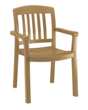 Chaise en résine avec appuis-bras Atlantic - Teck