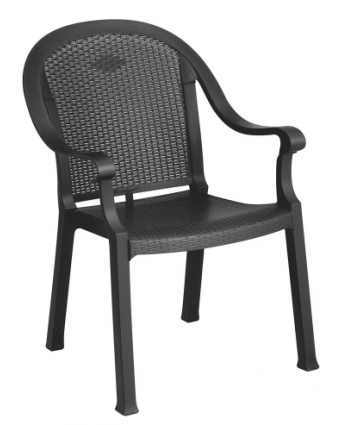 Chaise en résine avec appuis-bras Sumatra - Charbon