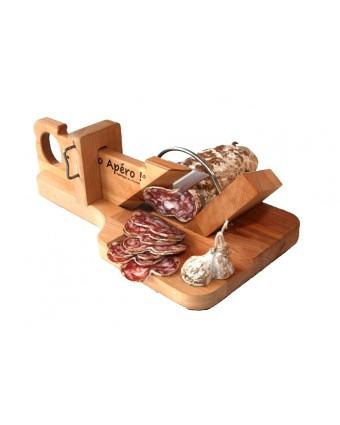 """Planche en bois avec guillotine à saucisson 11"""" x 6,4"""""""
