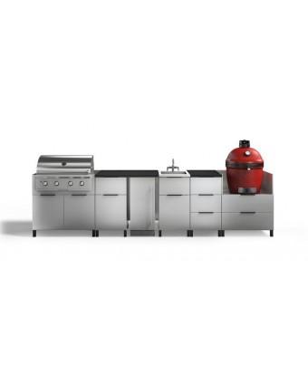 Configuration à six modules pour BBQ au gaz et au charbon et réfrigérateur - Nature