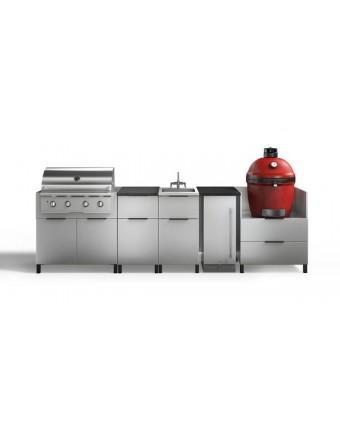 Configuration à cinq modules pour BBQ au gaz et au charbon et réfrigérateur - Nature