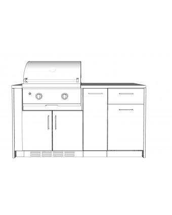 Configuration Le chef avec comptoir en acier inoxydable pour BBQ au gaz - Pure