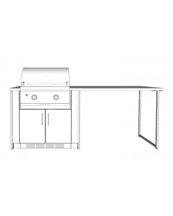 Configuration Le comptoir lunch avec comptoir en acier inoxydable pour BBQ au gaz - Pure