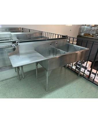 Évier double avec table de lavage (usagé)