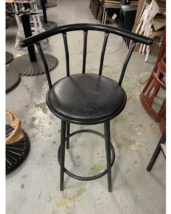 Tabouret de bar en métal avec siège rembourré (usagé)