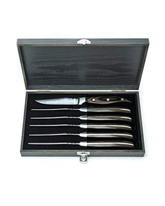 Ensemble de six couteaux à steak - Bois de pakka