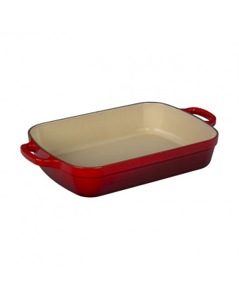 Plat de cuisson en fonte émaillée rectangulaire 4,9 L - Cerise