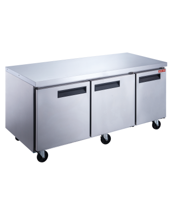 """Table de préparation réfrigérée trois portes pleines 72"""" - 20 récipients"""