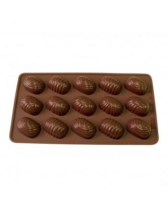 Moule à chocolats en silicone - Torsades ovales