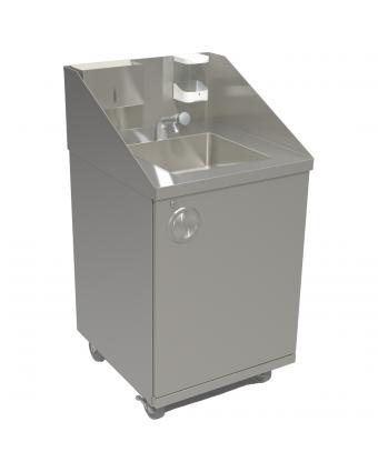 Évier sur pied pour le lavage des mains - Autonome / Eau chaude / Bouton pressoir