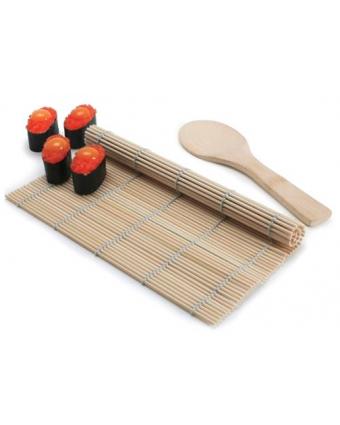 Ensemble tapis à sushi et spatule à riz en bambou