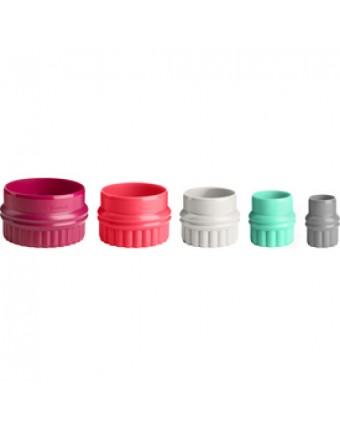Ensemble de cinq emporte-pièces ronds en plastique