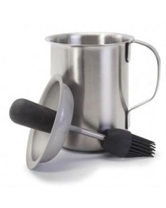 Pot pour sauce BBQ avec pinceau en silicone 16 oz