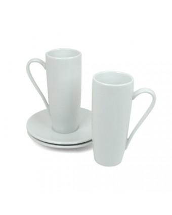 Ensemble de deux tasses en porcelaine 8 oz avec soucoupes