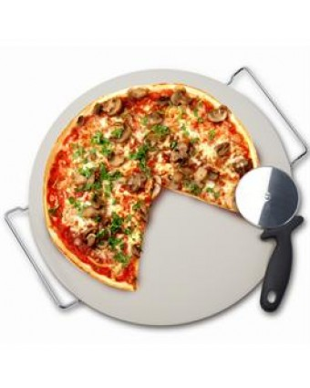 Pierre à pizza, support en métal et coupe-pizza