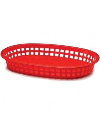 "Panier en polyéthylène ovale 10,6"" x 7"" - Rouge"