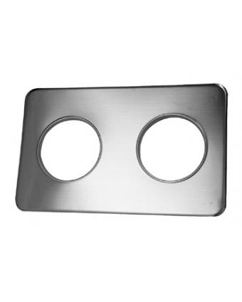 """Plaque intermédiaire à deux ouvertures en acier inoxydable - 8,4"""""""