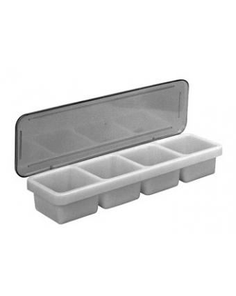 Service à condiments en plastique à quatre récipients
