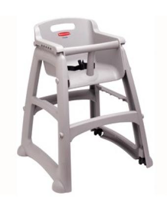Chaise haute en plastique avec roulettes - Platine
