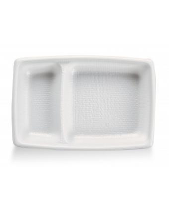 Récipients à entrée à deux cavités en plastique rectangulaires jetables (caisse de 2000)