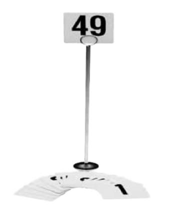 """Support à cartes numérotées en acier chromé 12"""""""