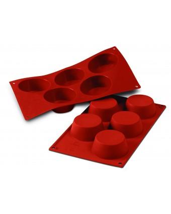 Moule en silicone à cinq cavités - Muffins 135 ml