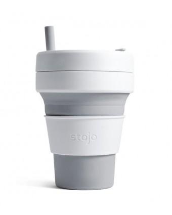 Tasse pliante en silicone - Blanc et gris