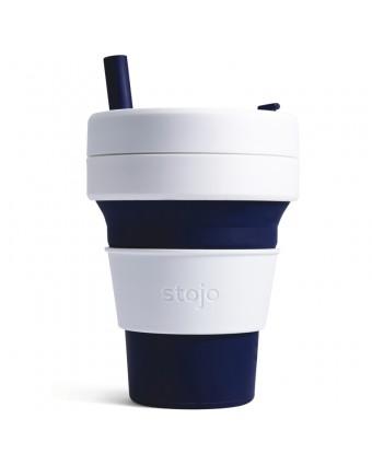 Tasse pliante en silicone - Blanc et indigo