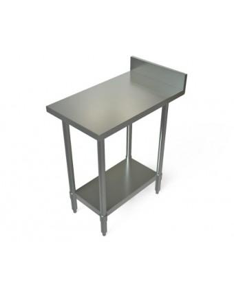 """Table de travail avec dosseret et tablette en acier inoxydable 18"""" x 30"""""""