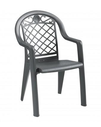 Chaise en résine avec appuis-bras Savannah - Charbon