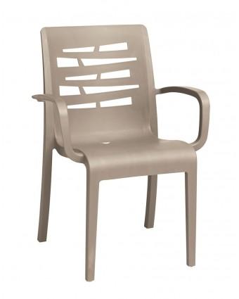 Chaise en résine avec appuis-bras Essenza - Taupe