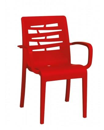 Chaise en résine avec appuis-bras Essenza - Rouge