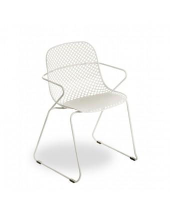 Chaise d'extérieur avec appuis-bras Ramatuelle 73' - Crème absolue