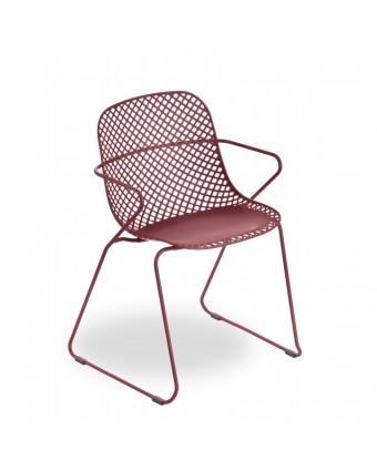 Chaise d'extérieur avec appuis-bras Ramatuelle 73' - Rouge Bossa Nova