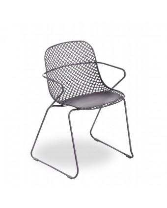 Chaise d'extérieur avec appuis-bras Ramatuelle 73' - Gris pavement