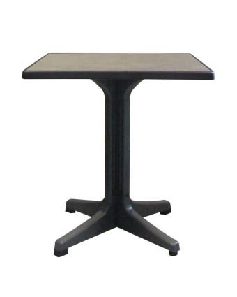 Table d'extérieur carrée Omega 28'' - Métal brossé et charbon
