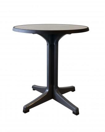 Table d'extérieur ronde Omega 28'' - Métal brossé et charbon