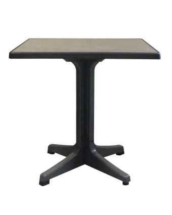 Table d'extérieur carrée Omega 32'' - Métal brossé et charbon