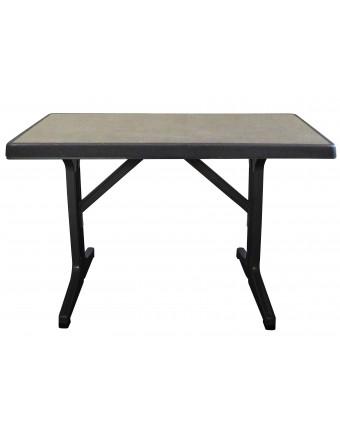 Table d'extérieur rectangulaire Omega 45'' x 28'' - Métal brossé et charbon