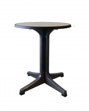 Table d'extérieur ronde Omega 24'' - Métal brossé et charbon