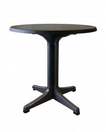 Table d'extérieur ronde Omega 34'' - Béton foncé et charbon