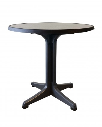 Table d'extérieur ronde Omega 34'' - Métal brossé et charbon